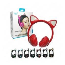 Fone De Ouvido Bluetooth Orelhas De Gatinho Com 7 Luzes Led