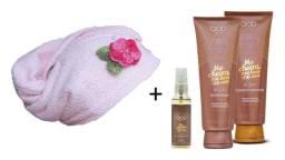 Kit Shampoo+Condicionador+Óleo Reparador Argan + Toalha de Cabelo