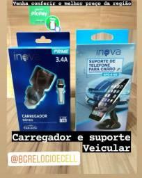Carregador de celular, suporte, bateria e cabos usb