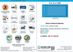 Piscina Fibra 6 x 3 x 1,4(prof) Retangular + Filtro + Instalação