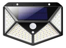 Luminária Solar 100 Leds Sensor Presença Com 3 Funções