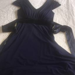 Vestido Tam 44 azul marinho seminovo