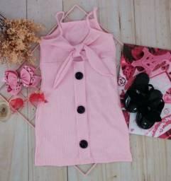 Vestido canelado infantil, disponível no tamanho 06