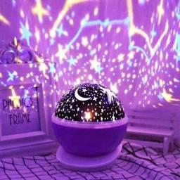 Luminária Abajur Infantil Luz De Estrela Giratório Projetor