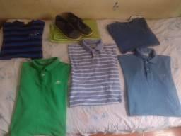 5 camisas + tênis Por R$50! Lacoste, Aviator, Aeropostale, Thonmy, Cavaleira
