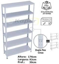 Prateleira de Aço Dupla-Flex- Cinza ( nova ) Promoção
