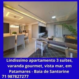 Lindo apartamento 3 suítes, varanda gourmet, vista mar, em Patamares