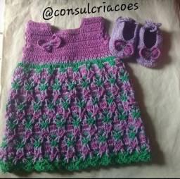 vestidoem crochê infantil