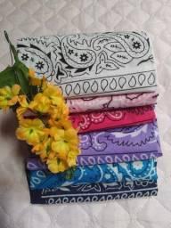 Bandanas disponível nas cores branca, Azul claro, rosa pink e lilás