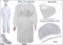 EPIs: Capote - N95 - Viseira - Touca - Propé - Macacão