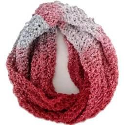 Gola de Lã Cachecol Tricô Feminina Inverno Vermelha