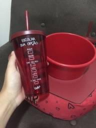 Kit cinema suporte balde para pipoca e copo para bebida