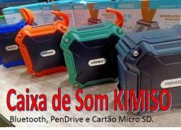 Caixa de Som Kimiso Bluetooth Recarregável Portátil USB, SD Prova Dágua KMS-113
