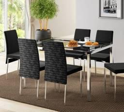 Mesa 346 com Vidro Incolor Cromada com 6 Cadeiras - Entrega Rápida