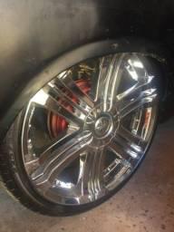 Vendo ou troco Rodas aro 20 cromadas com pneu
