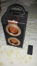 Caixa de som mp3 sd card radio fm controle remoto