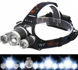 Lanterna de Cabeça Profissional Led T6 E 2 Leds R2 Triplo Led + Bateria