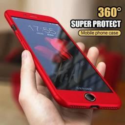 Capa 360 Graus vermelha para iPhone 7 e 8