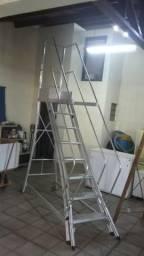 Escada de Alumínio Alulev 7 Degraus + Patamar - 2 Corrimãos - seminova 2.500,00 - barbada