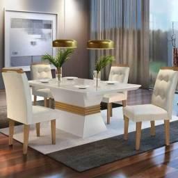 Mesa de jantar ágata com 4 cadeiras ágata D526