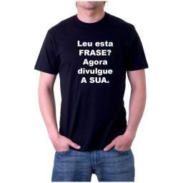 Camiseta preta com frases - malha 100% algodão fio 30