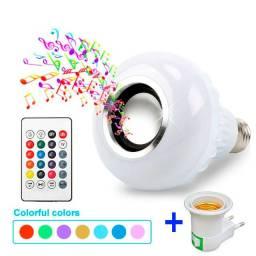 Lâmpada Inteligente Led Colorida Som Bluetooth Adaptador E27