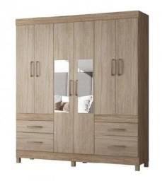 Oferta Exclusiva Guarda Roupa 6 Portas e 4 gavetas bem Espaçoso e com Espelhos Novo
