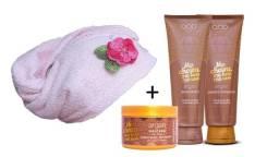 Kit Shampoo+Condicionador+Máscara de Argan + Tolha de Cabelo