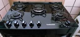 Fogão continental 5 bocas cor preta semi-novo mesa de vidro