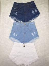 Kit com 3 shorts Jeans feminino curto