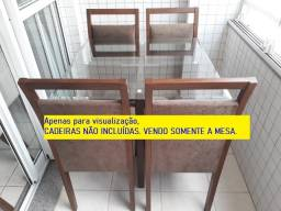 Mesa com base de madeira e tampo de vidro 0,80 x 0,80