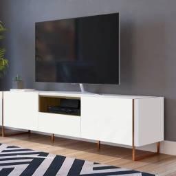 Rack p/ TV branco c/ cobre