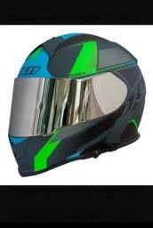 Capacete X11 Revo Pro Flagger Verde Fosco Viseira Extra