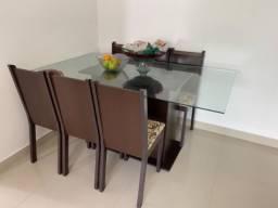 Conjunto de Mesa com 6 Cadeiras Tabaco e Bege