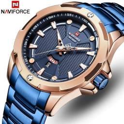 Relógio Naviforce 9161 Azul e Rose em Aço Inoxidável Original Aprova Dàgua