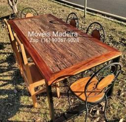 Mesa jogo demolição pés de ferro com 6 cadeiras