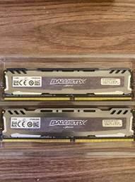 Memória DDR4 Crucial Ballistix Sport LT, 2 * 4GB (8GB Dual channel) 2666MHz, Grey