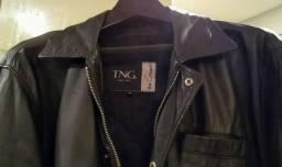 Título do anúncio: Jaqueta preta de couro preto tamanho M marca TNG