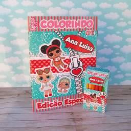 10 Kit Revistinhas de Colorir Lol com giz de Cera Personalizado