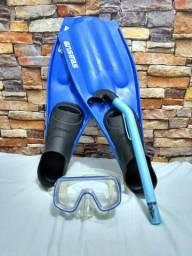 Nadadeira Seasub Tradicional - Azul - Tam 35-37 + Acessórios