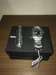 Kit Relógio Masculino Orient MBSS1276 P2SX Analógico 5 ATM