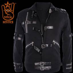 Jaqueta Michael Jackson Bad Preta Microfiba Cotton