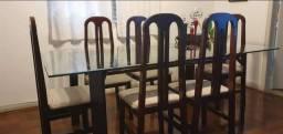 Mesa de jantar em mogno tampo vidro 6 cadeiras