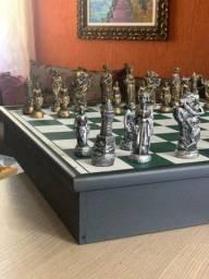 Jogo de Xadrez Completo c/ Peças medieval rústico