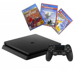 Console PlayStation 4 Slim de 1TB Sony CUH-2215B B01X Bivolt + 3 Jogos - Jet Black<br><br>