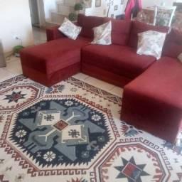 sofá 4 lugares com chaise e tapete separado