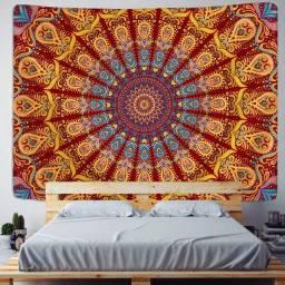 Mandala Carmesim e Celestial - Tapeçaria de parede