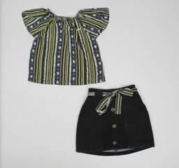 Conjunto feminino infantil blusa ciganinha e saia sarja