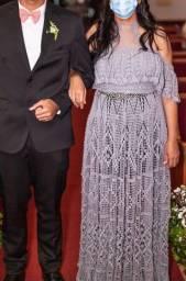 Vestido de festa feito a mão em crochê - M/G com elástico na cintura