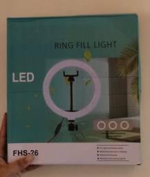 Ring Light Iluminador Led 12cm com tripé e suporte para celular, 3x sem juros no cartão.